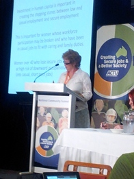 Veronica presenting at the ACTU summit